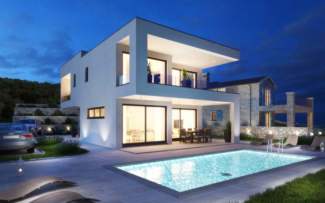 Insel krk kvarner moderne villa mit swimmingpool for Modernes haus villa