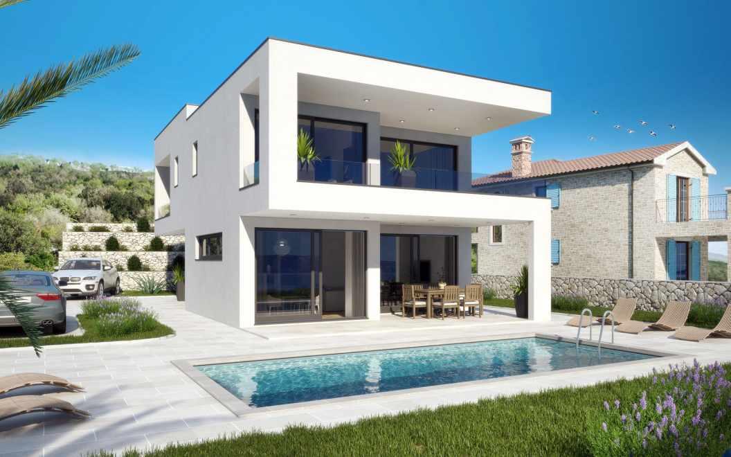 insel krk kvarner moderne villa mit swimmingpool. Black Bedroom Furniture Sets. Home Design Ideas