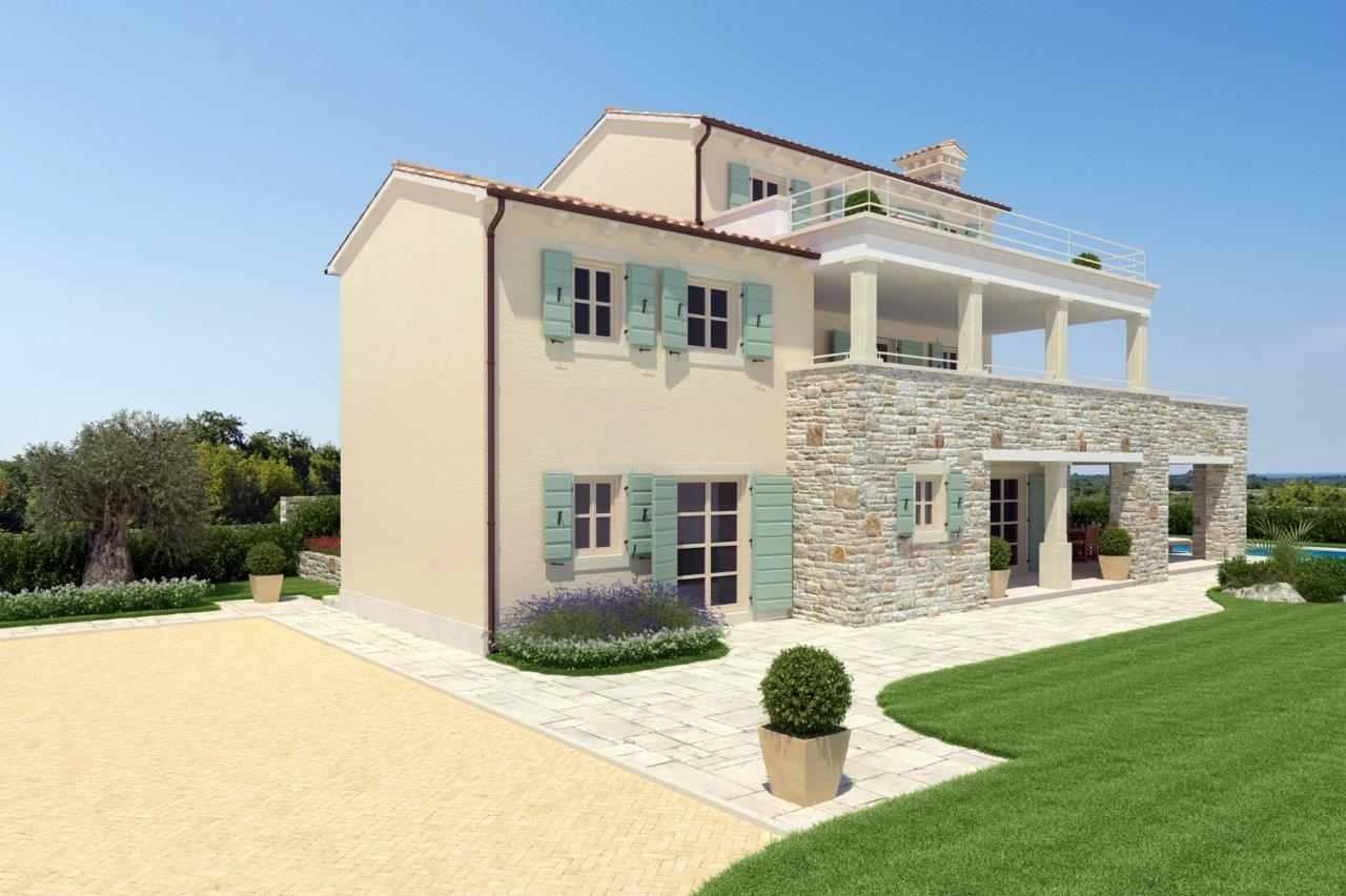 region novigrad istrien moderner steinhaus neubau. Black Bedroom Furniture Sets. Home Design Ideas